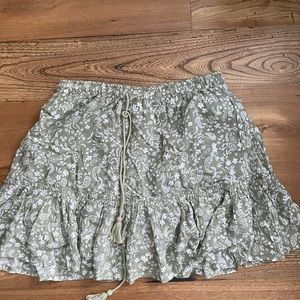 Sage green summer skirt with draw string waist